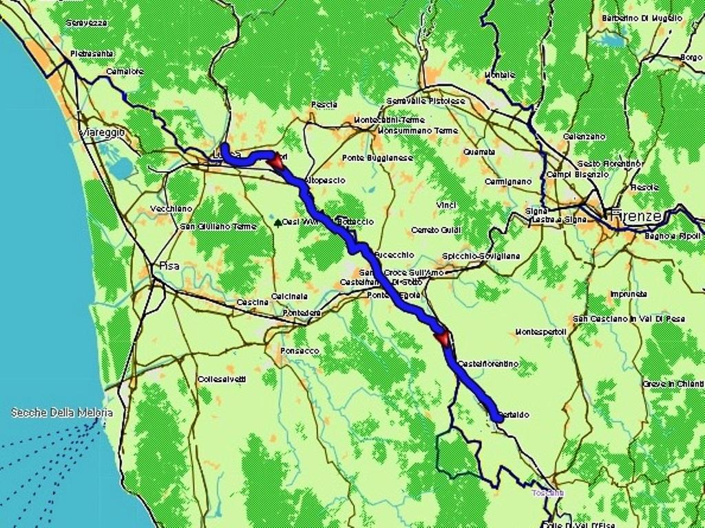 Siena - Certaldo: 71 km.