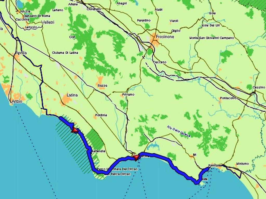 Sabaudia - Focene: 90 km
