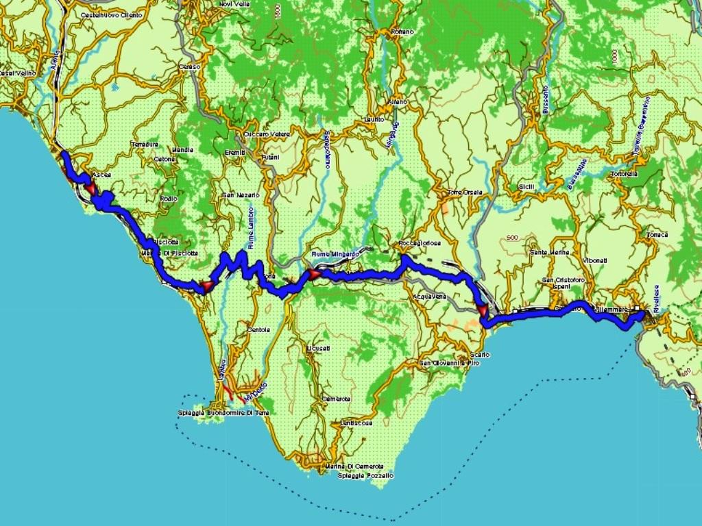 Marina di Ascea - Sapri: 65 km.