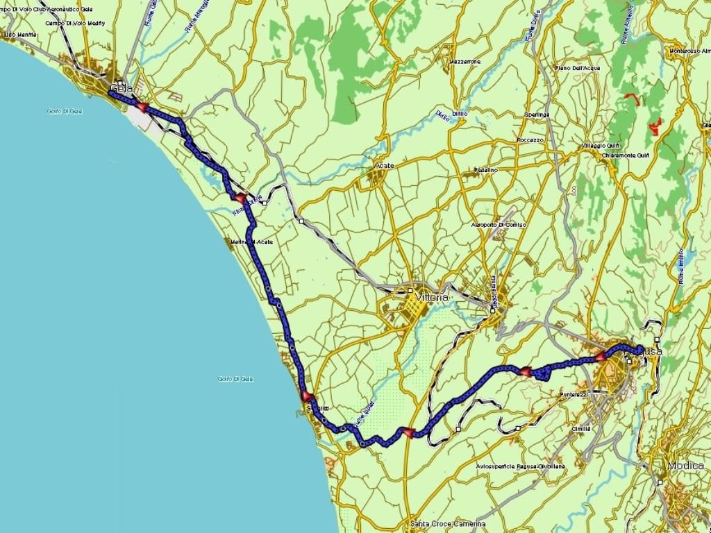 Ragusa - Gela : 68 km