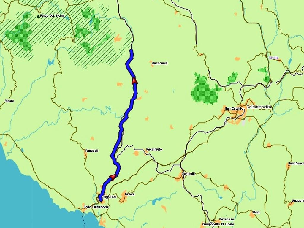Agrigento - Cammarata: 45 km.